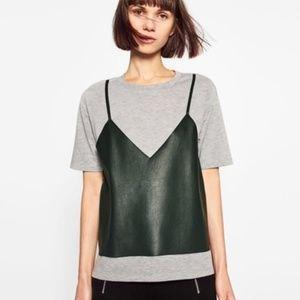 Zara Trafaluc Double Leather effect T-shirt